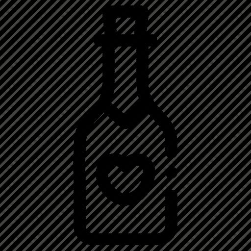 beverage, bottle, champagne, love, wine icon