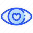 eye, heart, like, love, romance icon