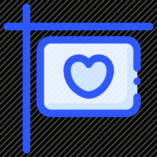 board, heart, hotel, love, sign icon