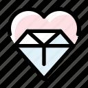 diamond, heart, love, marriage, wedding icon