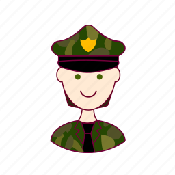 .svg, black hair, job, militar, military, profession, professional, profissão, white man icon