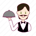 .svg, black hair, garçom, job, profession, professional, profissão, waiter, white man icon