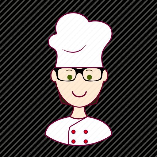 black hair, chef, chefe de cozinha, cook, cozinheiro, job, profession, professional, profissão, white man icon