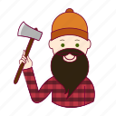 .svg, black hair, job, lenhador, lumberjack, profession, professional, profissão, white man icon
