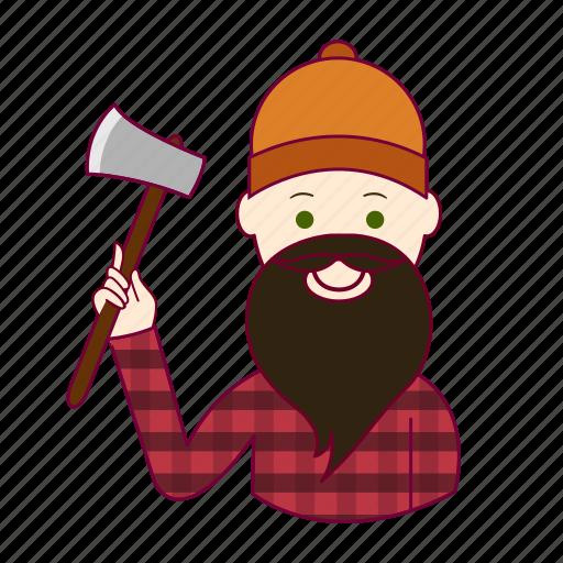 .svg, black hair, job, lenhador, lumberjack, profession, professional, profissão, white man icon