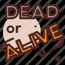 dead, alive, western, cowboy icon