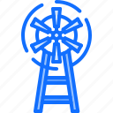 cowboy, pump, west, wild, wind, windmill icon