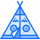 cowboy, indian, west, wigwam, wild icon