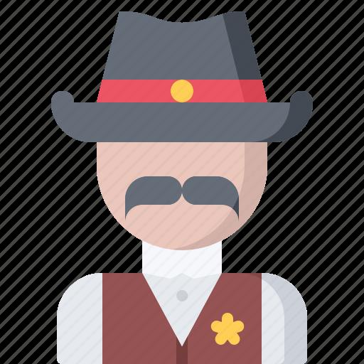 badge, cowboy, sheriff, star, west, wild icon