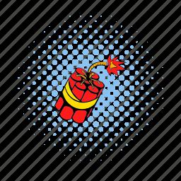 comics, danger, destruction, dynamite, explosive, living pictogram, red icon