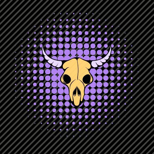 animal, bone, buffalo, comics, dead, head, skull icon