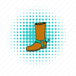 boot, brown, comics, cowboy, footwear, leather, shoe icon