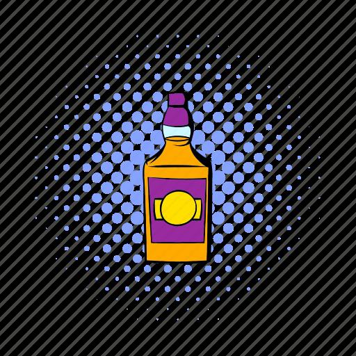 alcohol, bottle, cartoon, glass, liquid, liquor, whiskey icon