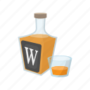 alcohol, bottle, cartoon, glass, liquid, liquor, whiskey icon