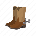 boot, brown, cartoon, cowboy, footwear, leather, shoe icon