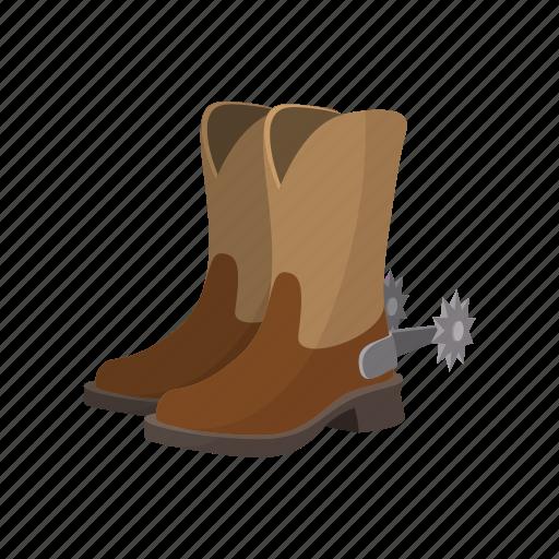 boot, brown, cartoon, cowboy, footwear, leather, shoe icon