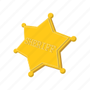 authority, cartoon, gold, metal, sheriff, star, west icon