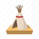 house, traditional, american, indian, tent, cartoon, native