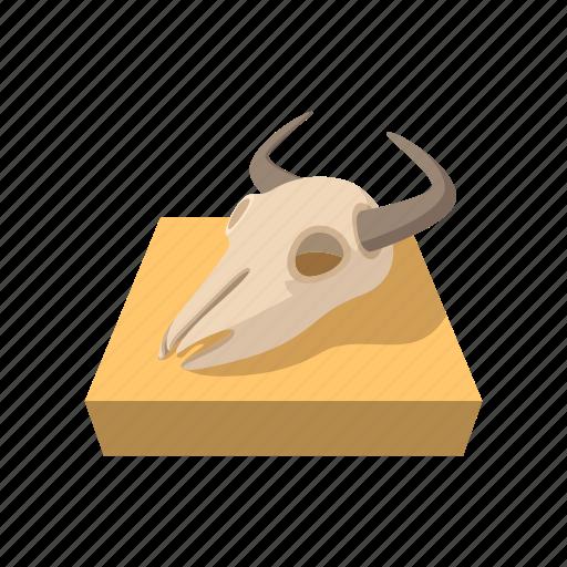 animal, bone, buffalo, cartoon, dead, head, skull icon