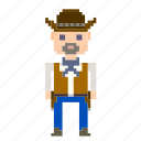 avatar, cowboy, male, man, pixels, wild west, wildwest icon