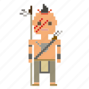 man, native americans, person, pixels, wild west, wildwest icon