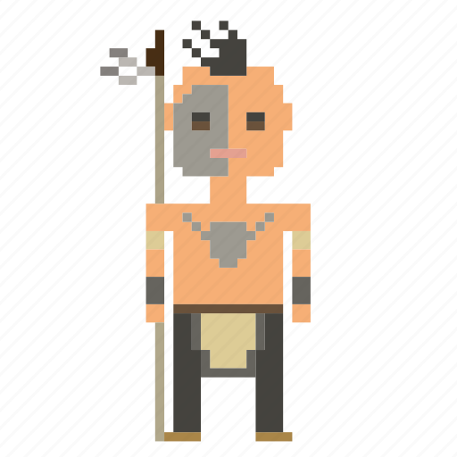 avatar, man, native americans, person, pixels, wild west, wildwest icon