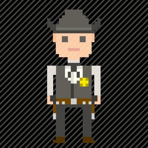 avatar, cowboy, man, person, pixels, wild west, wildwest icon