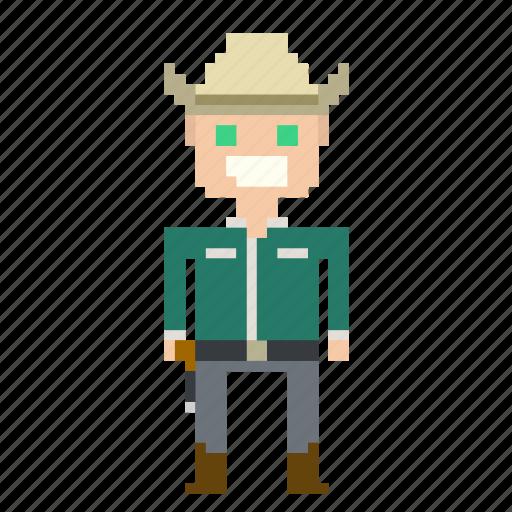 avatar, cowboy, male, man, pixels, wild west, wildwest icon