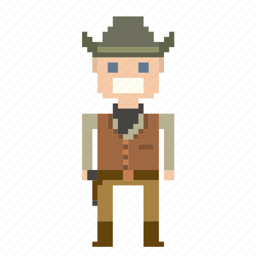 cowboy, man, person, pixels, wild west, wildwest icon