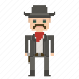 avatar, cowboy, man, person, pixels, wild west, wildwest icon