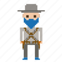 avatar, cowboy, man, pixels, wild west, wildwest icon