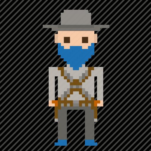 avatar, cowboy, man, pixels, wild west, wildwest icon