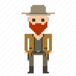 cowboy, man, person, pixels, wild west, wildwest icon
