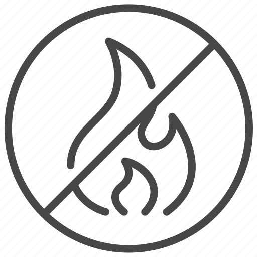 fire, flame, no, prohibited, sign, warning icon