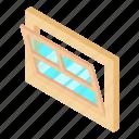 frame, isometric, leaf, object, open, white, window