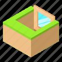 basement, frame, house, isometric, object, white, window