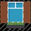 exterior shutter, home window, window, window blinds, window shutter icon