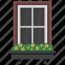 exterior window, home window, window, window blinds, window shutter icon