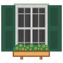 exterior shutter, home window, window, window blinds, window shutter icon