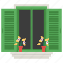 exterior shutter, home window, window, window shades, window shutter icon