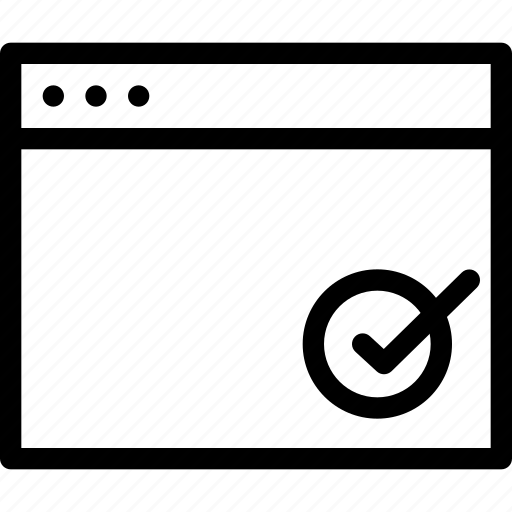 accessible, approved, approved-window, browser, checked, creative, document, dots, grid, line, page, rights, round, safe, shape, tick, trusted, window icon