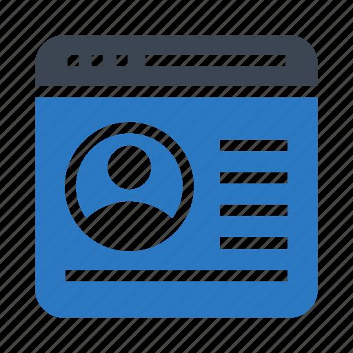 account, browser, internet, menu, webpage icon