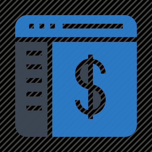 currency, dollar, online, webpage, window icon
