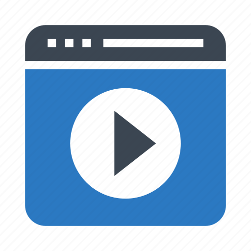 browser, internet, play, video, webpage icon