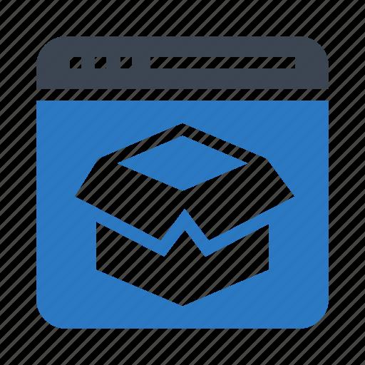box, internet, package, webpage, window icon