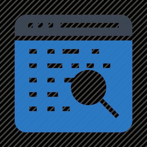 internet, magnifire, search, webpage, window icon
