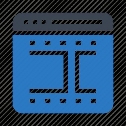 movie, online, reel, webpage, window icon