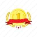 banner, coin, golden, one, trophie, wheat, winner icon