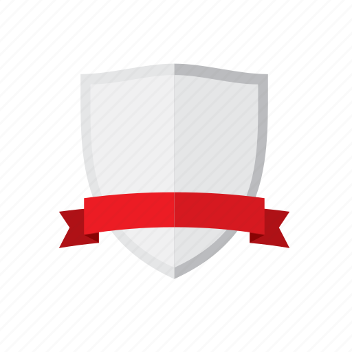 banner, protection, red, shield, silver, template icon