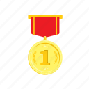 gold, golden, medal, one, red, trophie, wheat, 1 icon